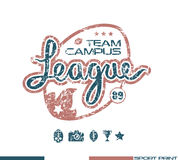 College rugby team emblem Stock Photos