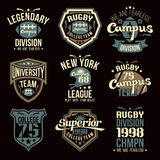 College rugby team emblems. Graphic design for t-shirt Royalty Free Stock Photo