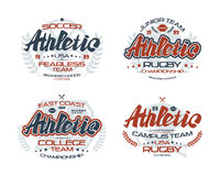 College rugby team emblems. College rugby and soccer team emblems  for t-shirt. Color print on white background Stock Photo