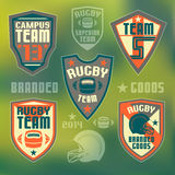 College rugby team. Set of emblems rugby team Stock Images