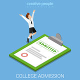 College school certificate happy flat 3d isometric vector Royalty Free Stock Photography