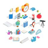 College school house icons set, isometric style. College school house icons set. Isometric set of 25 college school vector icons for web isolated on white royalty free illustration
