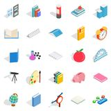 College school house icons set, isometric style. College school house icons set. Isometric set of 25 college school vector icons for web isolated on white Stock Photography