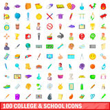 100 college and school icons set, cartoon style Royalty Free Stock Photography