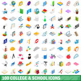 100 college and school icons set. In isometric 3d style for any design vector illustration stock illustration