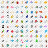 100 college and school icons set. In isometric 3d style for any design vector illustration Royalty Free Stock Image