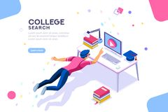 College Search University Online Courses Banner. Tutorial infographic, graduation, e-learning research, university exam, college research, online courses concept royalty free illustration