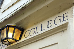 College sign over doorway Royalty Free Stock Image