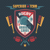 College sport emblem rugby team Single Stock Image
