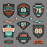 College sport emblem. Set of emblems College Sport Retro Stock Photo