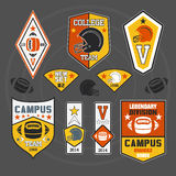 College sport emblem. Set of emblems College sport team rugby Royalty Free Stock Photography