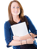 College student. A photo of a college student with a blank notebook royalty free stock photo