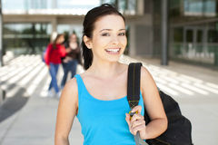 College student. Young college student standing outside Stock Image