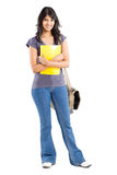 College student. Full length portrait of young female college student on white Royalty Free Stock Photo