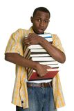 College Student. Black college student carrying books stock photos
