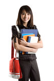 College student. An isolated shot of a beautiful asian college student carrying books Royalty Free Stock Photography