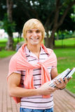 College student. Young male handsome college student in campus Royalty Free Stock Images
