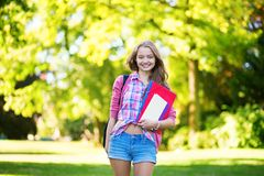 College student with books and folders Stock Photography