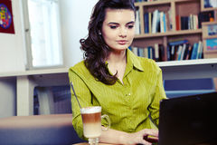 College student on a cafe. Royalty Free Stock Photography
