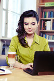 College student on a cafe. Royalty Free Stock Photo
