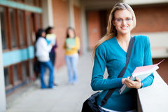 College student on campus. Smart female college student on campus Stock Image