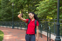 College student on campus taking a selfie Stock Photo