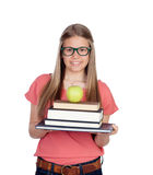 College student charged with books Royalty Free Stock Photos