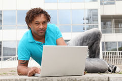 College student with computer Royalty Free Stock Photos