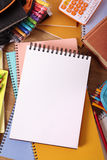 College student desk with blank writing book or notebook, copy space, vertical Stock Image