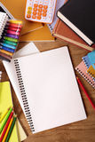 College student desk with blank writing book, white copy space Stock Image
