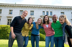 College student diversity on university campus. A diverse group of multicultural students on campus. A photo of Asian, African American, Hispanic and Caucasian Stock Photography