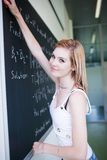 college student erasing the chalkboard Stock Photography