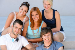 College student friends group smiling portrait Stock Image