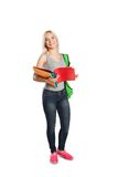 College student girl with book and bag isolated Stock Images