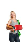 College student girl with book and bag isolated on Royalty Free Stock Images