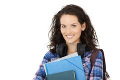 College student girl with headphones Stock Photography