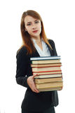 College student girl holding books Royalty Free Stock Images