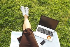 College student girl sitting on the green lawn doing homework on her laptop computer. Young woman sitting at the park blogging, wr. Young fit attractive woman Royalty Free Stock Images