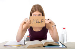 College student girl studying for university exam worried in stress asking for help. Young beautiful college student girl studying for university exam in stress Stock Image
