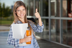 College Student Giving Thumbs Up Royalty Free Stock Photo