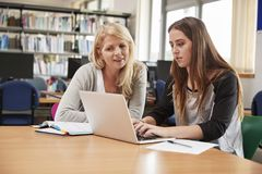 College Student Has Individual Tuition From Teacher In Library royalty free stock image