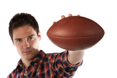 College Student Hold Football Isolated on White Stock Photos