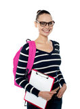 College student holding Clipboard Stock Image