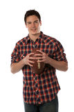 College Student Holding Football Isolated on White Stock Photo