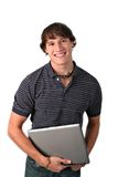 College Student Holding Laptop Stock Images