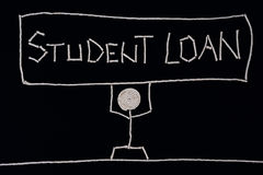College student holding a sign - student loan, carrying the weight of a loan, unusual concept. Stock Photo