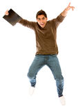 College student jumping Royalty Free Stock Photography
