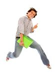 College student jumping Royalty Free Stock Image