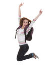 College Student Jumping With Arms Raised Royalty Free Stock Photography