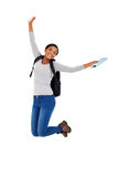 College student jumping. Excited african american college student jumping Stock Image